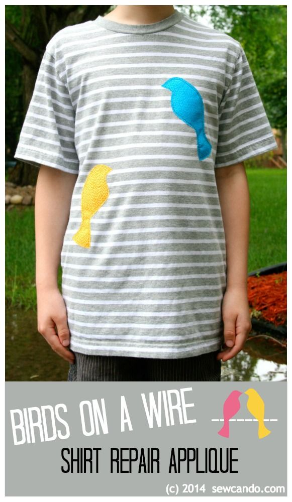 Sew Can Do: Repair a torn shirt or embellish boring stripes with some cute bird appliques for a Birds On A Wire look.