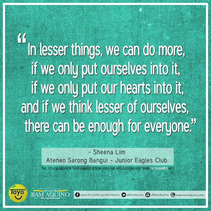 If we think lesser of ourselves, there can be enough for everyone. #TAYO #TAYO12 #Youth #InspiringQuotes