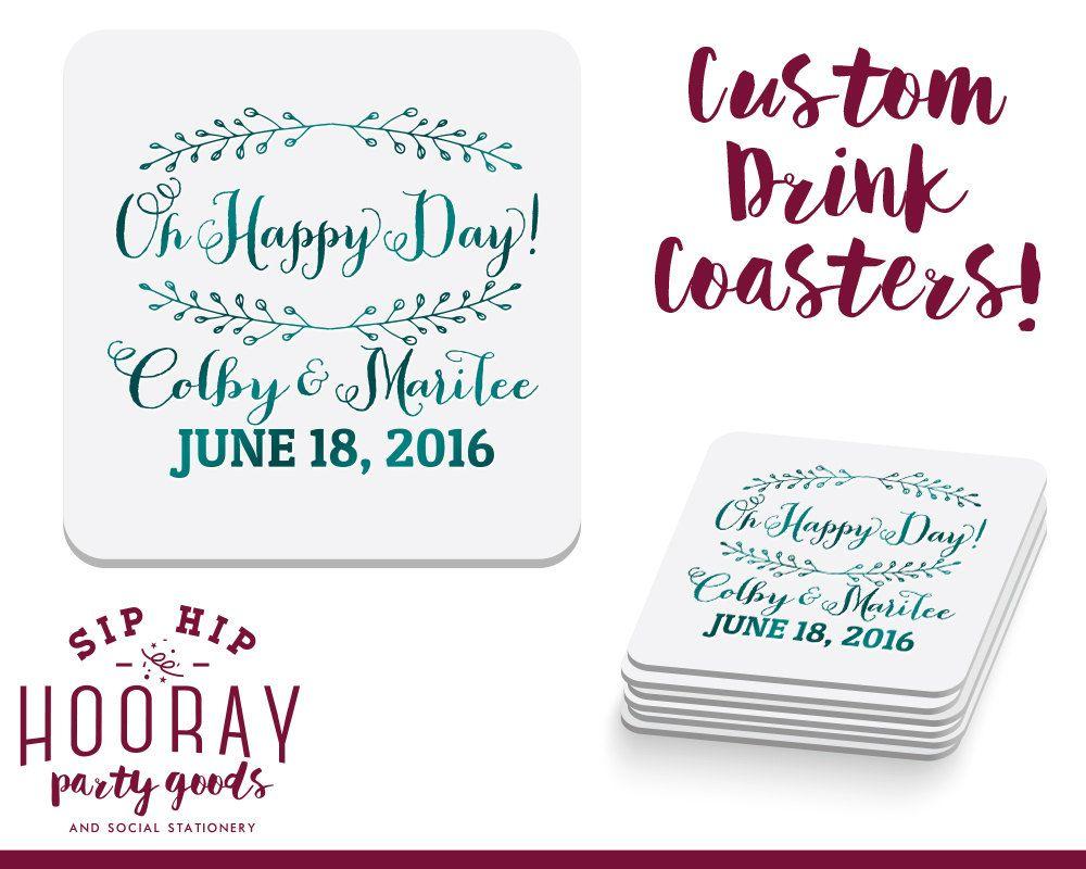 Oh Happy Day Wedding Favors, Personalized Coasters, Wedding Coaster ...