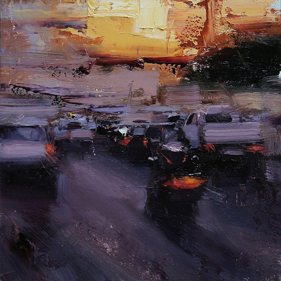 An evening traffic by tibor nagy oil 8 x 8