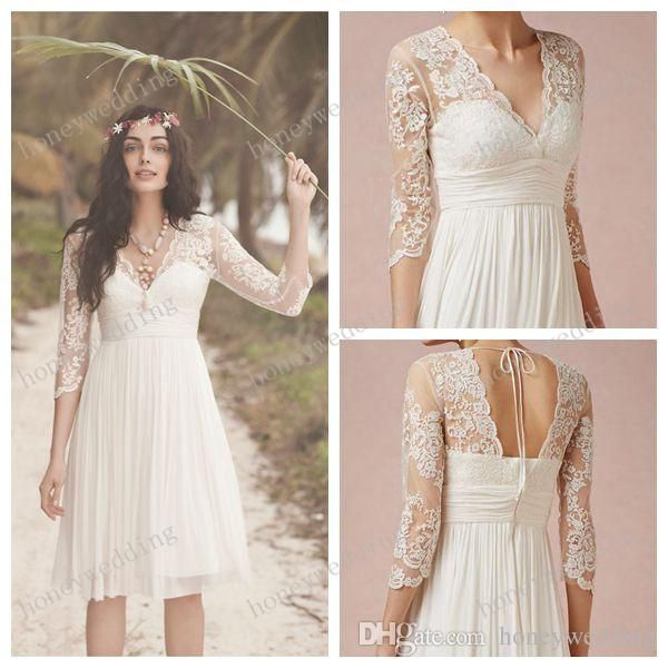 2015 White Lace Wedding Dresses 3/4 Long Sleeves Scalloped V Neck ...