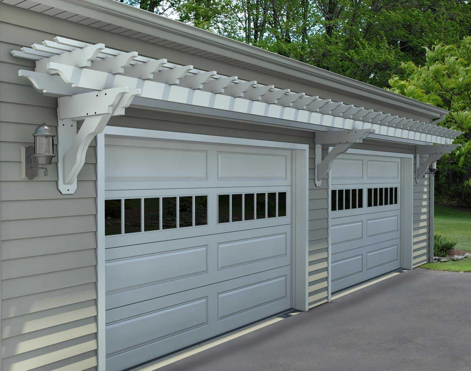 Trellis over garage door - How To Build An Attached Garage Pergola To Vinyl Siding Google Search