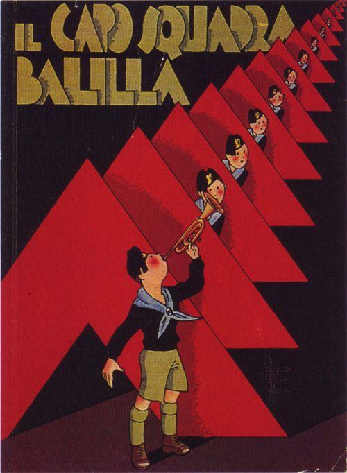 Zedda, Il Capo Squadra Balilla, cover for fascist youth handbook, 1935, Italy