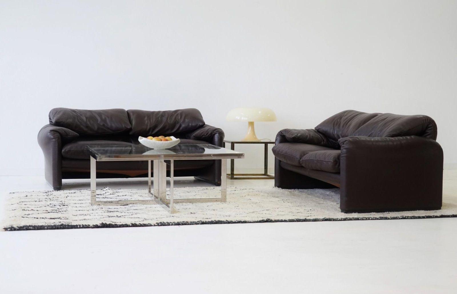 2x Cassina Maralunga 2 Sitzer Sofa Vico Magestretti Canapé Designklassiker Leder