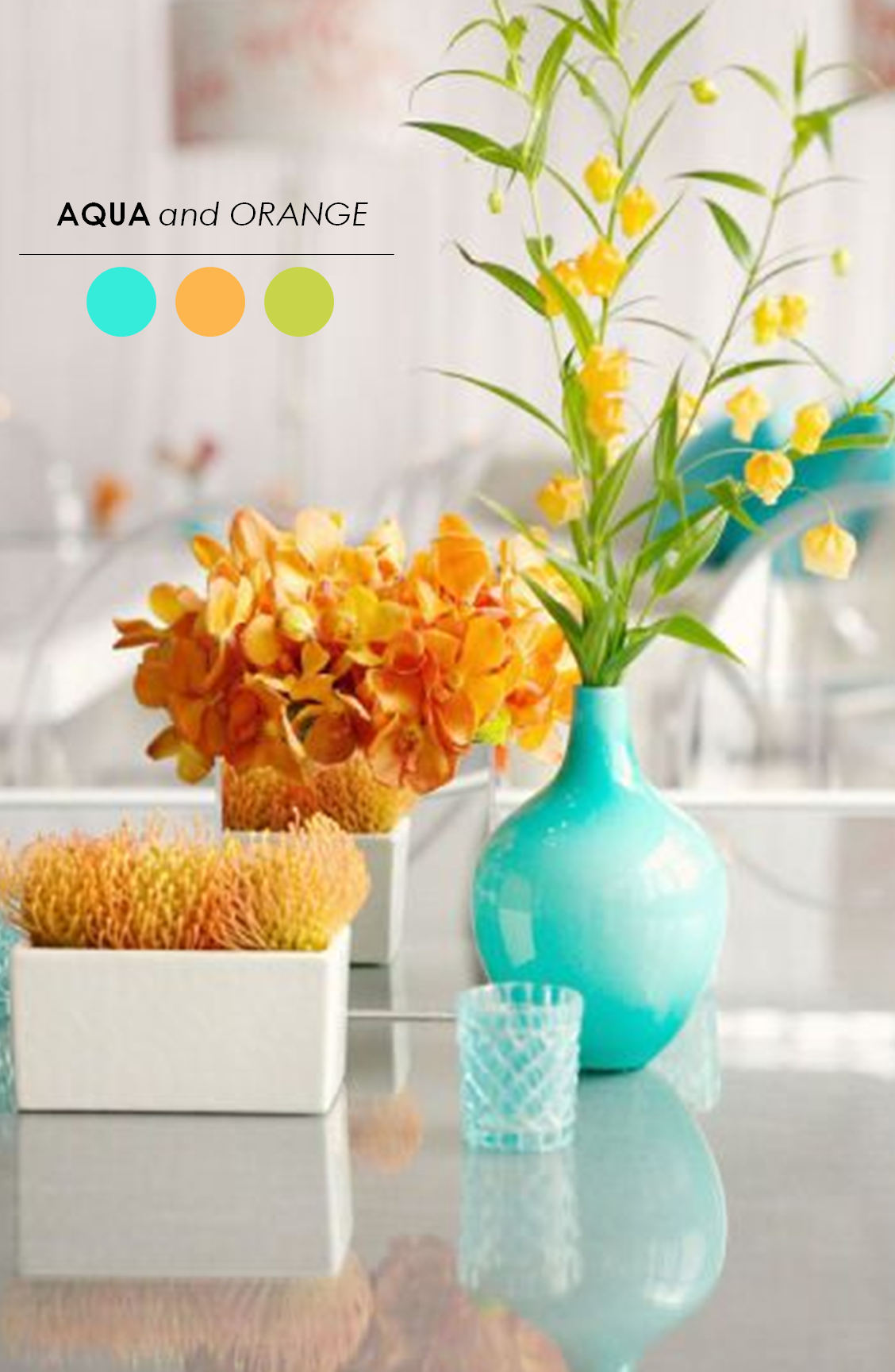 Orange And Aqua: 10 Creative Centerpieces For Weddings!