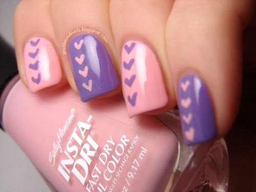 Pastel pink/purple hearts manicure by Spellbound Nails