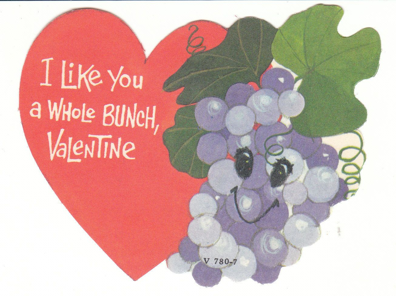 Anthropomorphic Grapes Vintage Valentine 1960's Unused Die Cut by BirdhouseBooks on Etsy
