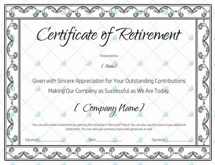Certificate of Retirement (928) Black https//www