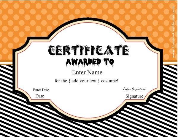 Halloween certificate templates halloween party fun games halloween certificate templates yadclub Images