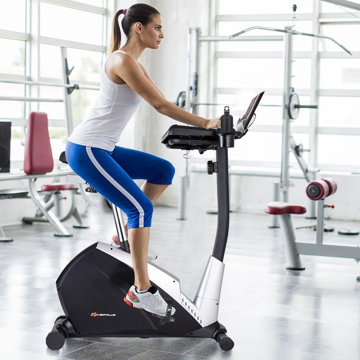 Upright Stationary Laptop Tray Exercise Bicycle