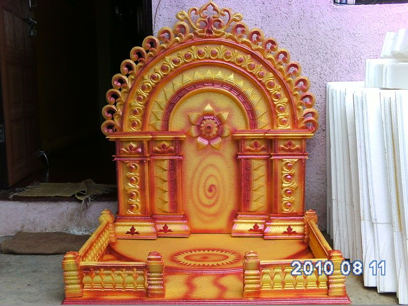 Wallpapers ganapati makar ganesh decoration thermocol for Background decoration for ganpati