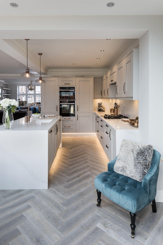 Herringbone Wood Look Tile And Lighted Baseboards Real Kitchens Lochanna Kitchens Ki Open Plan Kitchen Living Room Modern Kitchen Interiors Kitchen Design