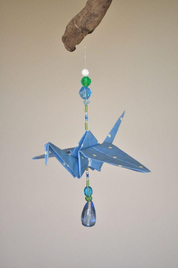 Blue and Green Origami Crane Mobile von BellasIdeas auf Etsy