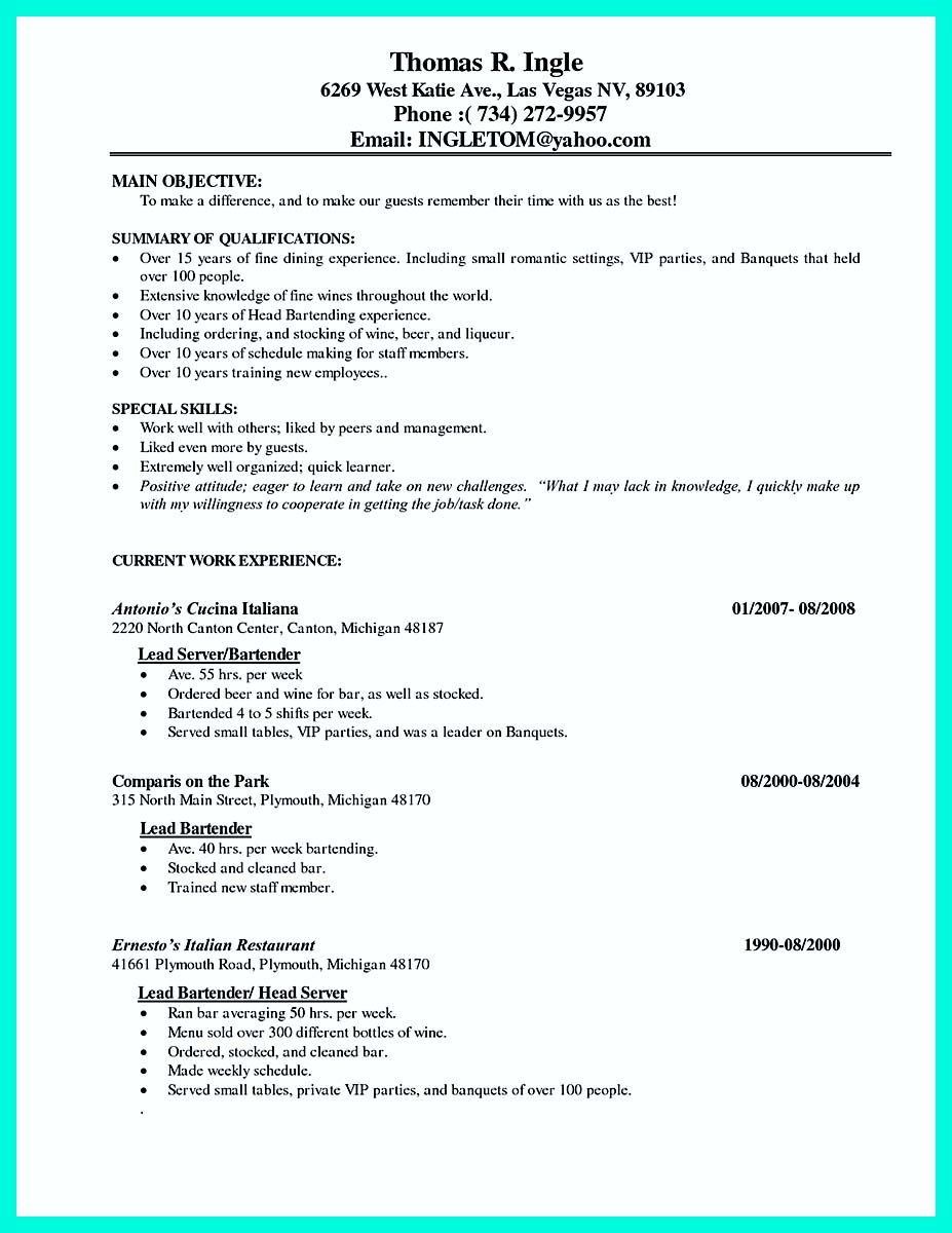 Quick Learner Resume Nice Cocktail Server Resume Skills To Convince Restaurants Or Café