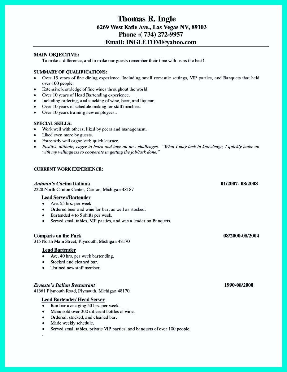 Nice Cocktail Server Resume Skills To Convince Restaurants Or Cafe Server Resume Resume Examples Resume Skills