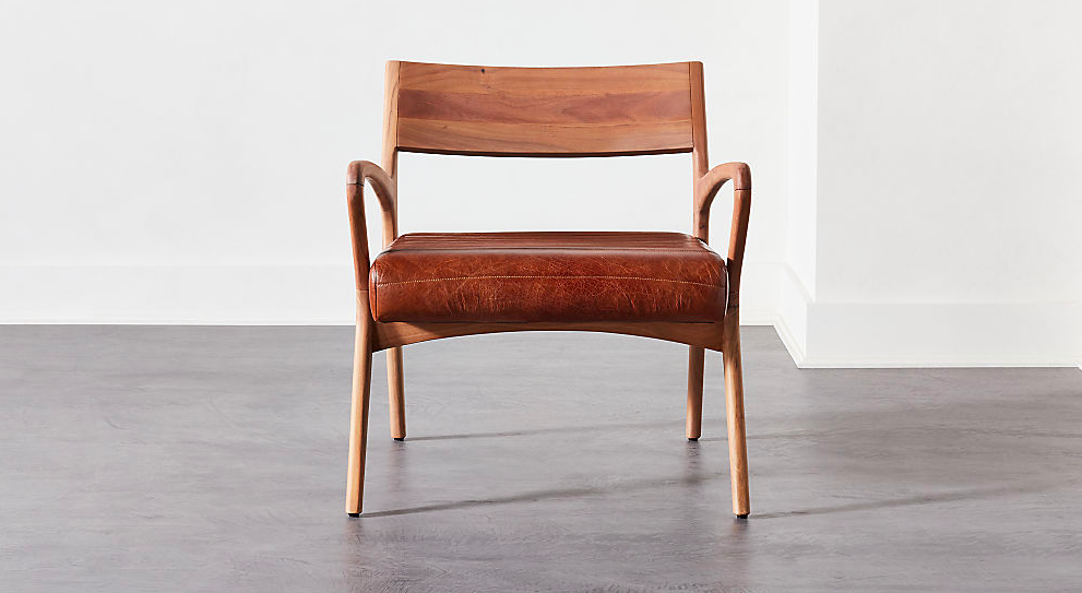 Allegro Wood and Leather Chair in 2020 | Chair, Small ...