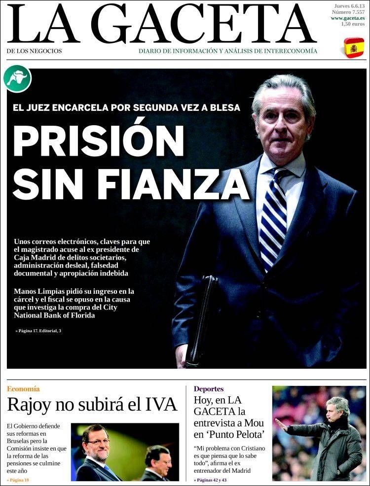 Los Titulares y Portadas de Noticias Destacadas Españolas del 6 de Junio de 2013 del Diario La Gaceta ¿Que le parecio esta Portada de este Diario Español?
