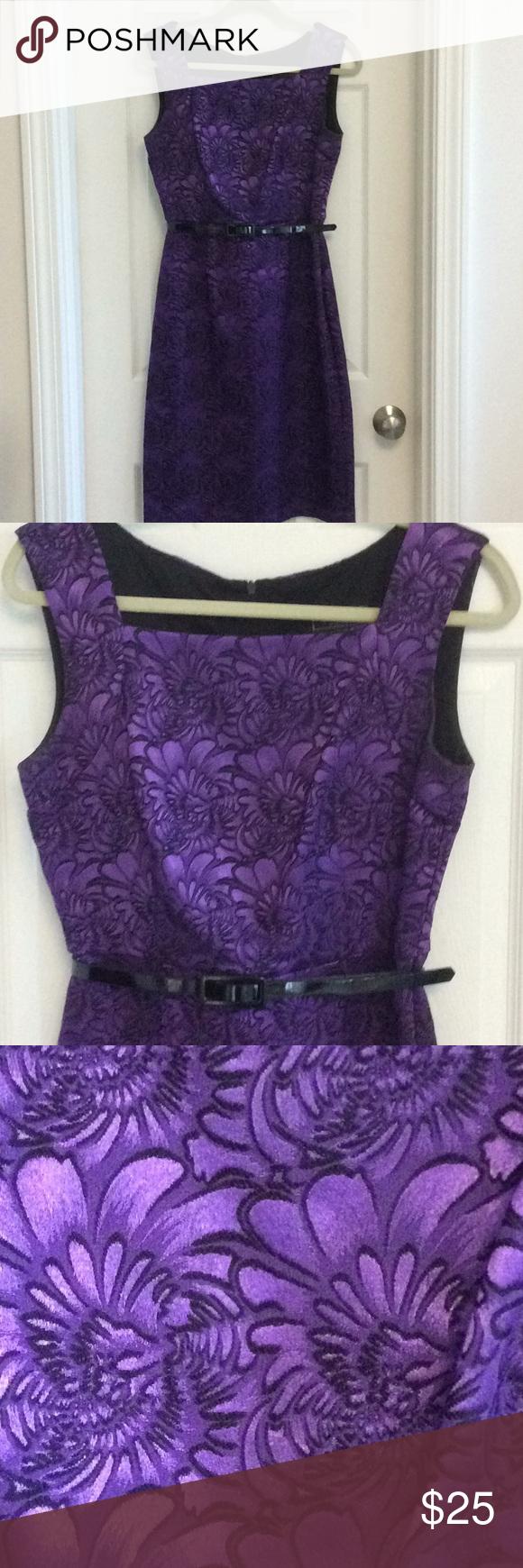Dressbarn Purple Dress Beautiful purple with black flower motif and thin black b…