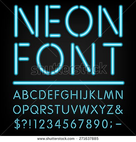 Neon Light Alphabet Vector Font  Type letters, numbers and