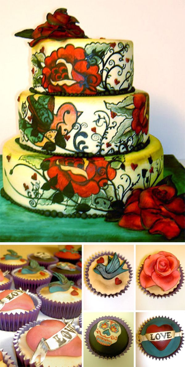 hand painted tattoo wedding cake and cupcakes