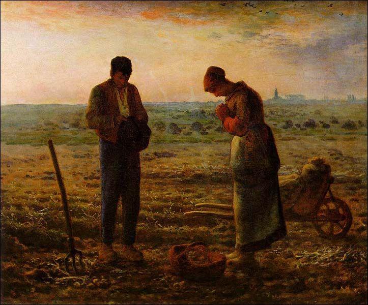 """Jean-François Millet """"The Angelus"""" (1857-59), oil on canvas, 55.5 x 66 cm, Musee d'Orsay, Paris."""