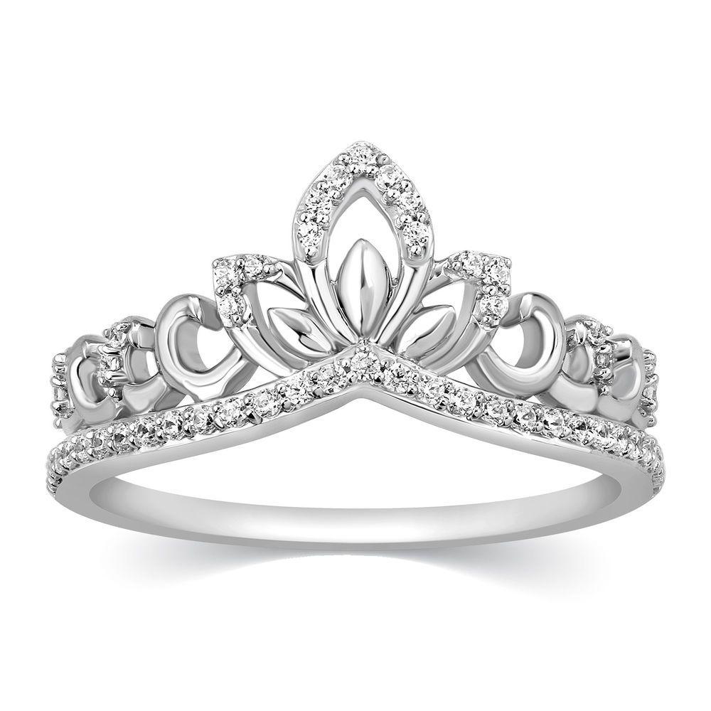 Details about 14k Diamond Ring Crown Tiara Princess Queen Band Solid Gold Fashion 1/4 Ct #crowntiara