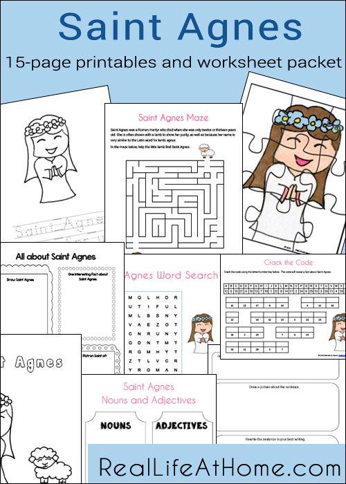 Saint Agnes Printables and Worksheet Packet for Catholic Children