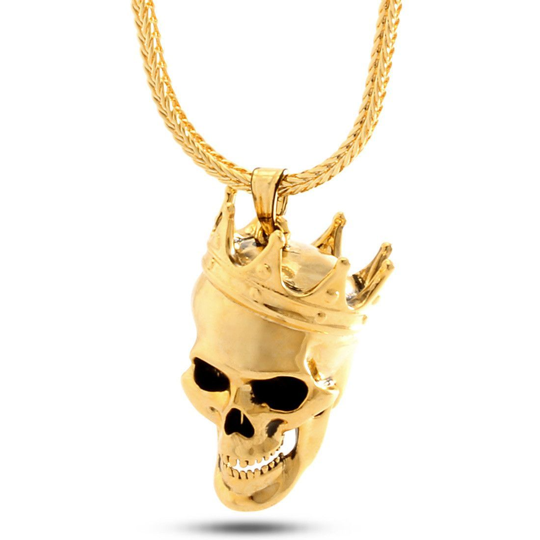King Ice 14K Gold 3D Skull King Necklace jewel Gold