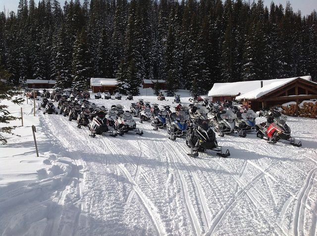 The snowmobile lunch rush