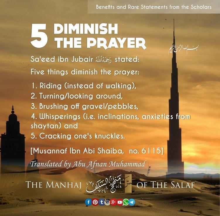5 Diminish The Prayer