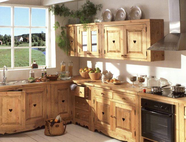 Beau Meuble De Cuisine En Bois Massif Décoration Française - Petit meuble bois massif pour idees de deco de cuisine