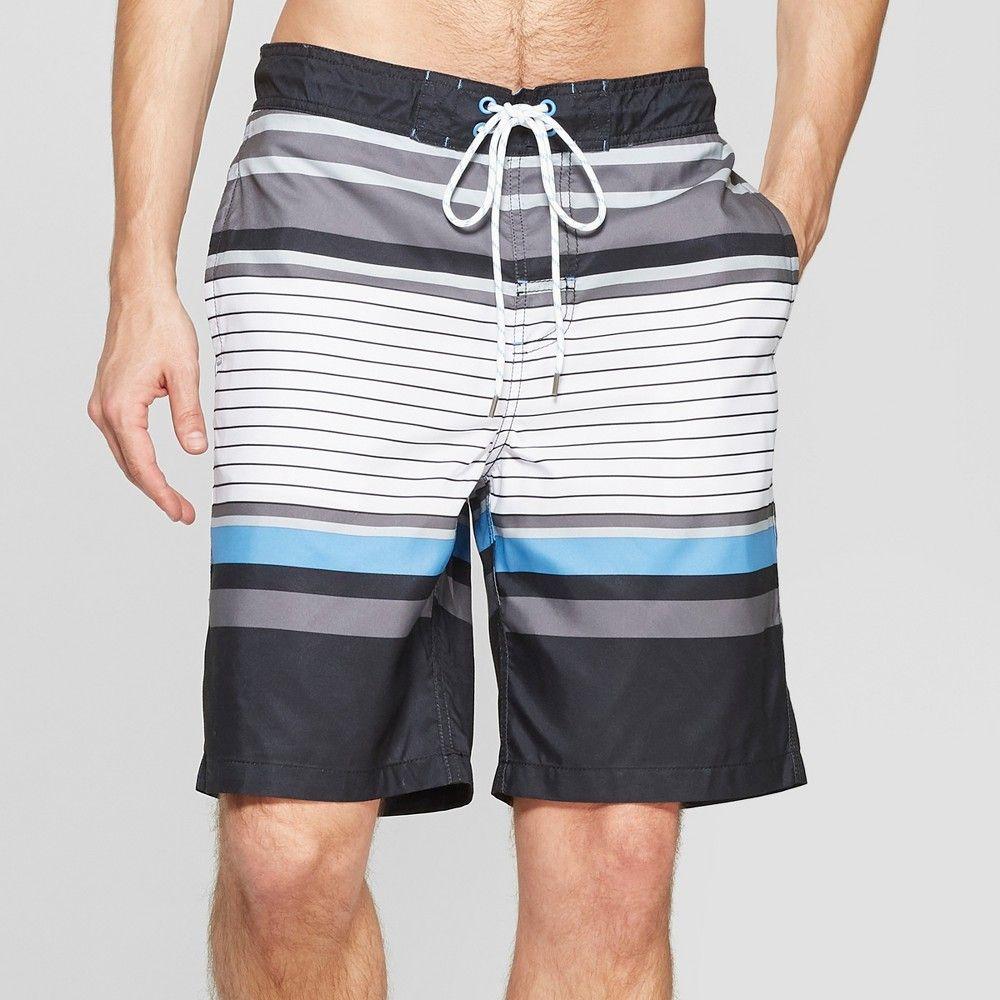 83816fbbb2 Men's Big & Tall 9 Striped Swim Trunks - Goodfellow & Co Black 3XL ...