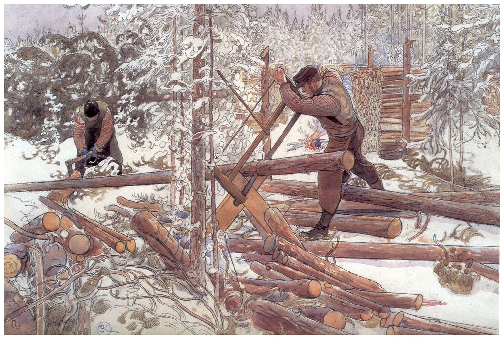 Woodcutters in the forest (1906) by Carl Larsson (1853-1919), Swedish painter.