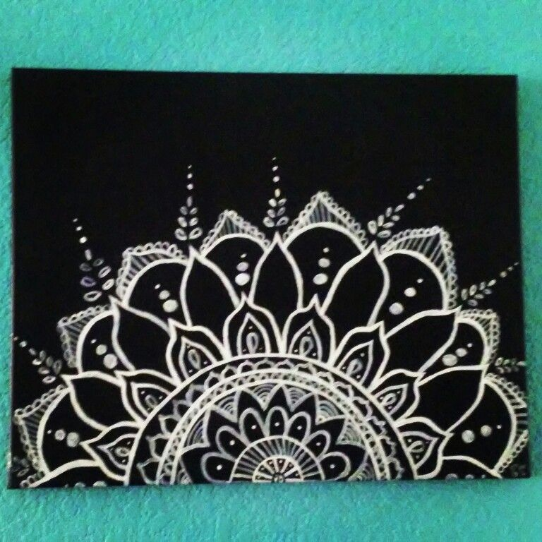 One of my first canvas paintings. Mandala Canvas Painting. | My ...