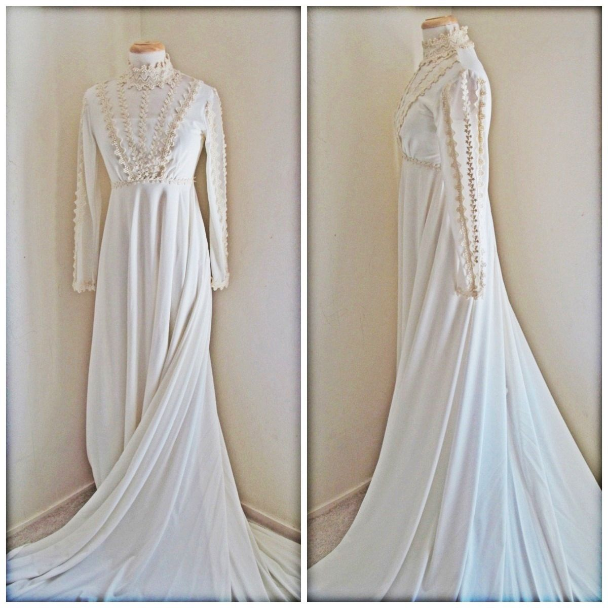 Elegant Boho Chic 70s Wedding Dress with by