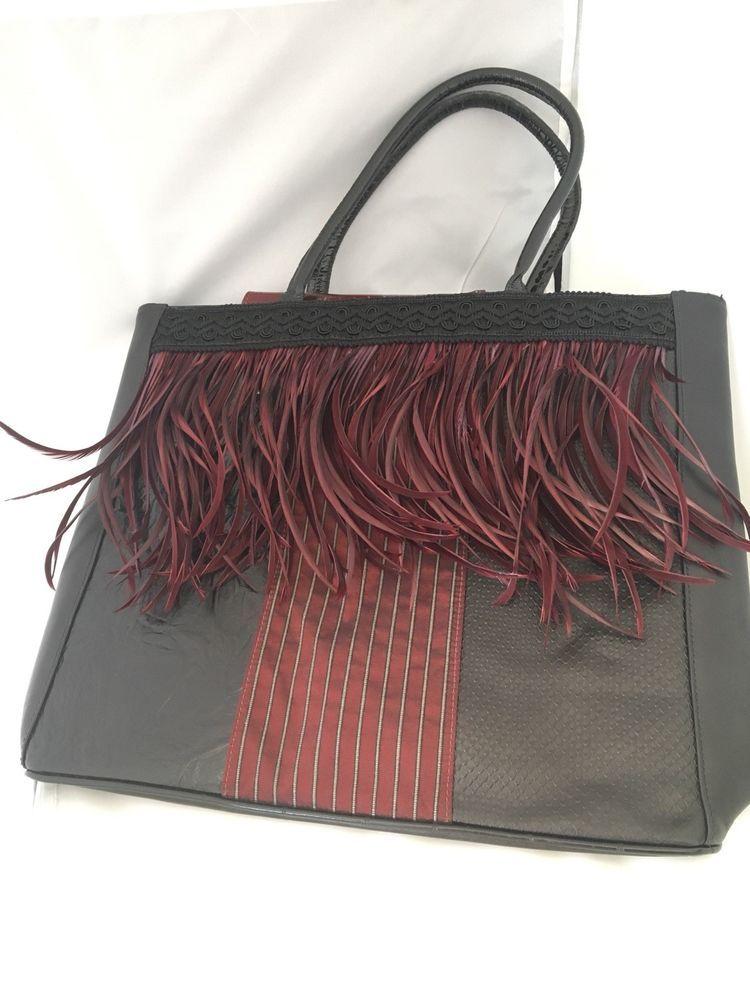 Spencer Rutherford Handbag Italian Leather Black And Burgundy Spencerrutherford Satchel