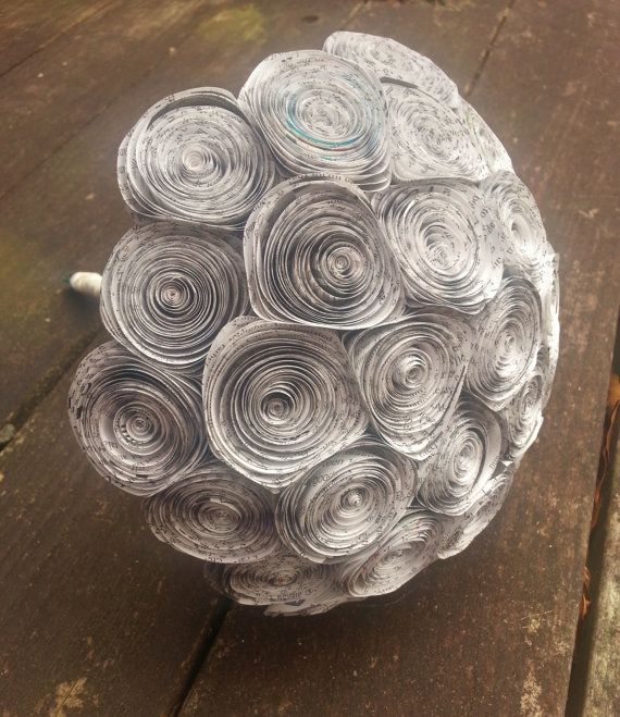Paper Flower Bouquet - Large Newspaper Flower Bridal Bouquet - 30 Handmade Newspaper Flowers - perfect for weddings