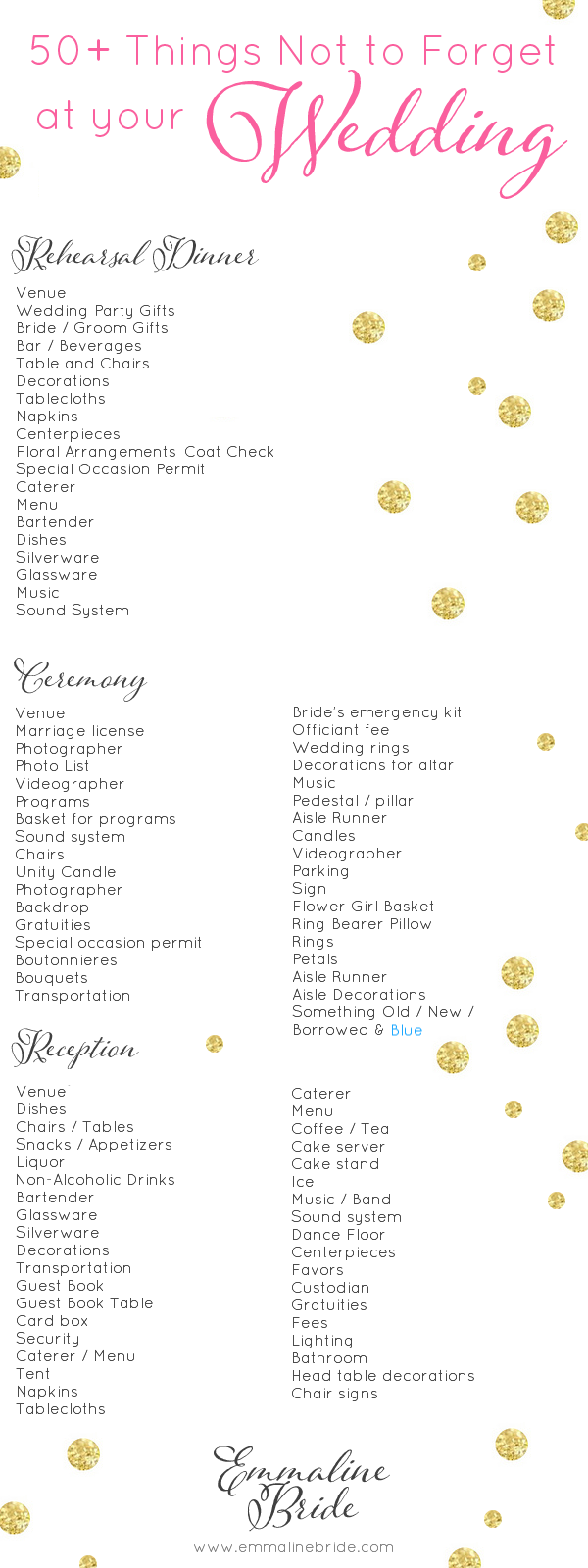 50 things not to forget at your wedding checklist the wedding