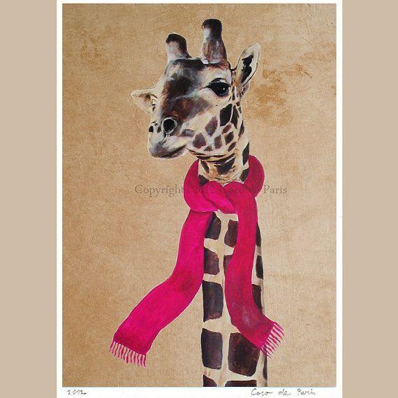Illustrazione digitale stampa mista stampa Poster Art dipinto acrilico decorazione disegno illustrazione souvenir: Inverno della stampa della giraffa  Sei allo Zoo di Cocktail... il posto dove si possa trovare ogni sorta di animali con carattere. Qui, si è appena notato la giraffa che ama indossare una sciarpa.  Dove mai si può trovare un gioco del gatto adorabile occhi verdi? Beh, proprio qui trovate allo Zoo di Cocktail.  La mia opera darte originale su tela è professionalmente stampato su…