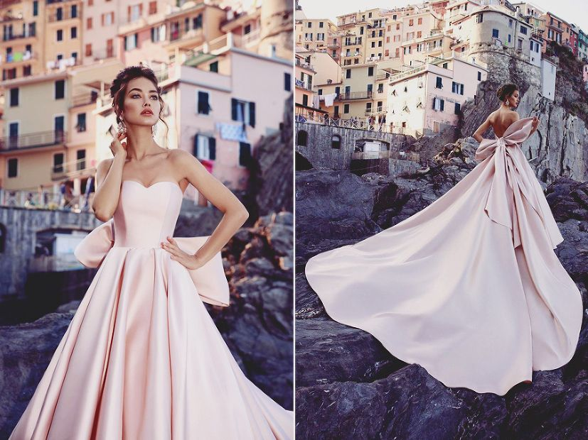 This blush satin gown from Tesoro Bridal featuring a modern feminine ...