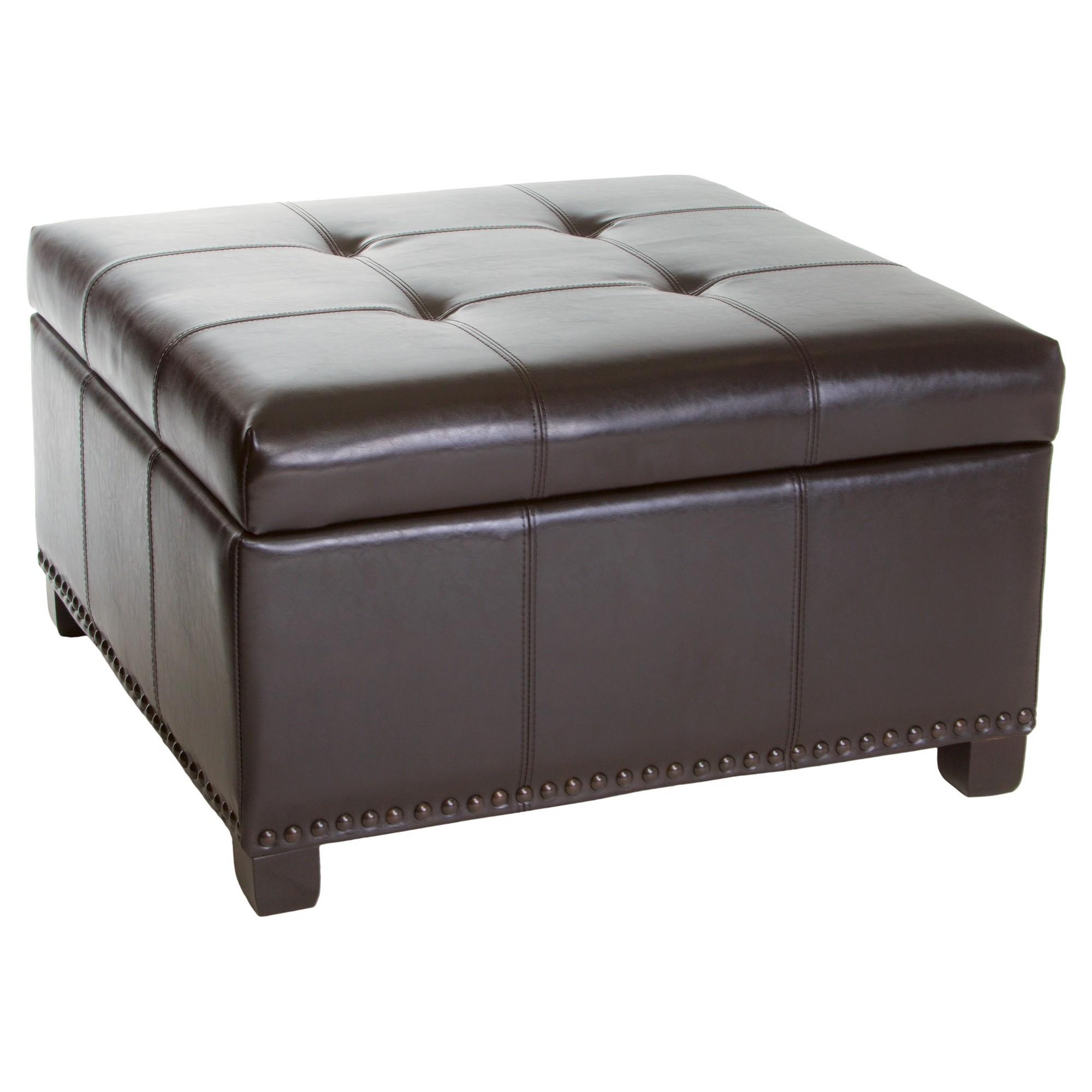 Shauna Espresso Brown Leather Interior Tray Storage Ottoman Christopher Knight Home