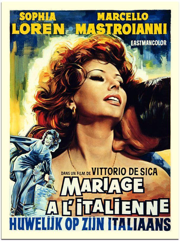MARRIAGE ITALIAN STYLE - Sophia Loren - Marcello Mastroianni - Directed by Victorio De Sica - Italian Movie Poster.