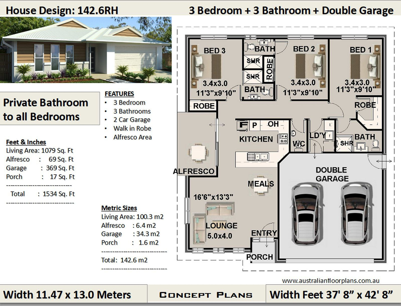 3 Bedroom House Plan 1079 Sq Feet Or 100 M2 Private Etsy Bedroom House Plans House Plans Cottage House Plans