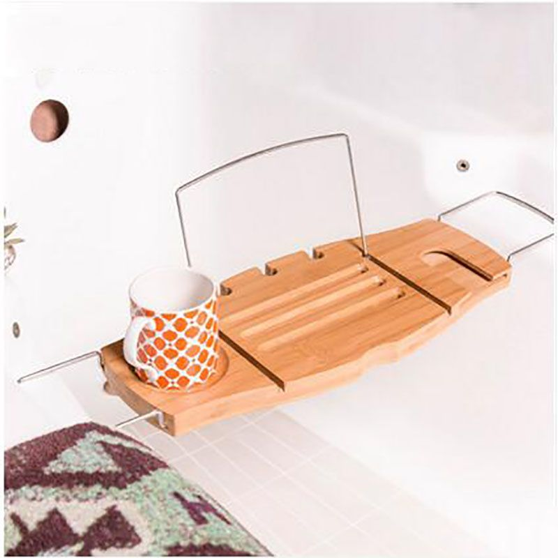 Non Slip Bamboo Bathtub Tray and Caddy Adjustable Handcrafted Bath ...