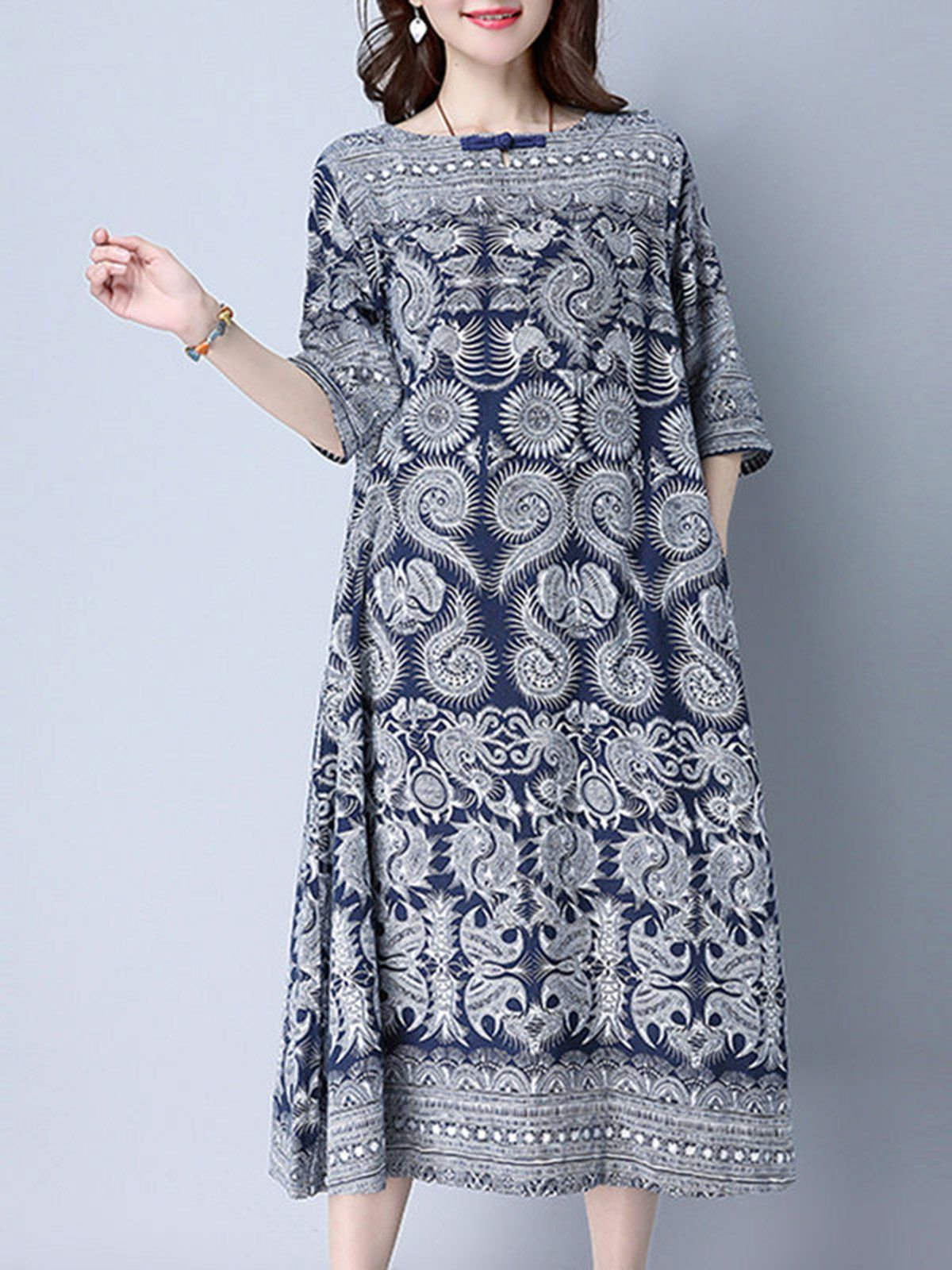 Women plus size navy blue printed buttoned pockets aline linen midi