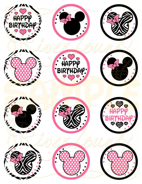 Printable Minnie Mouse Cupcake Toppers 2 Inch Circles Minnie Mouse Cupcake Toppers Minnie Mouse Cupcakes Minnie Mouse Party
