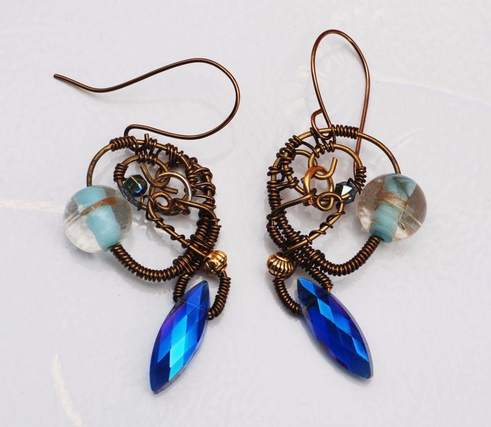 Blue Fantasy Earrings Wire Wrap Crystal Glass Earrings Artisan Craft ...