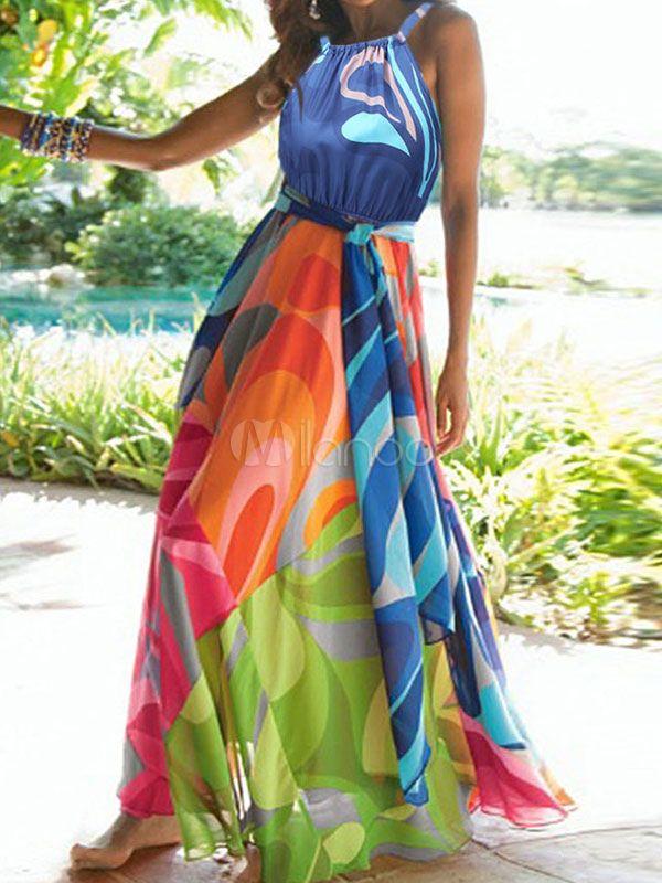 8ee920043 Multicolor de la mujer del vestido azul plisado vestido largo de gasa sin  mangas