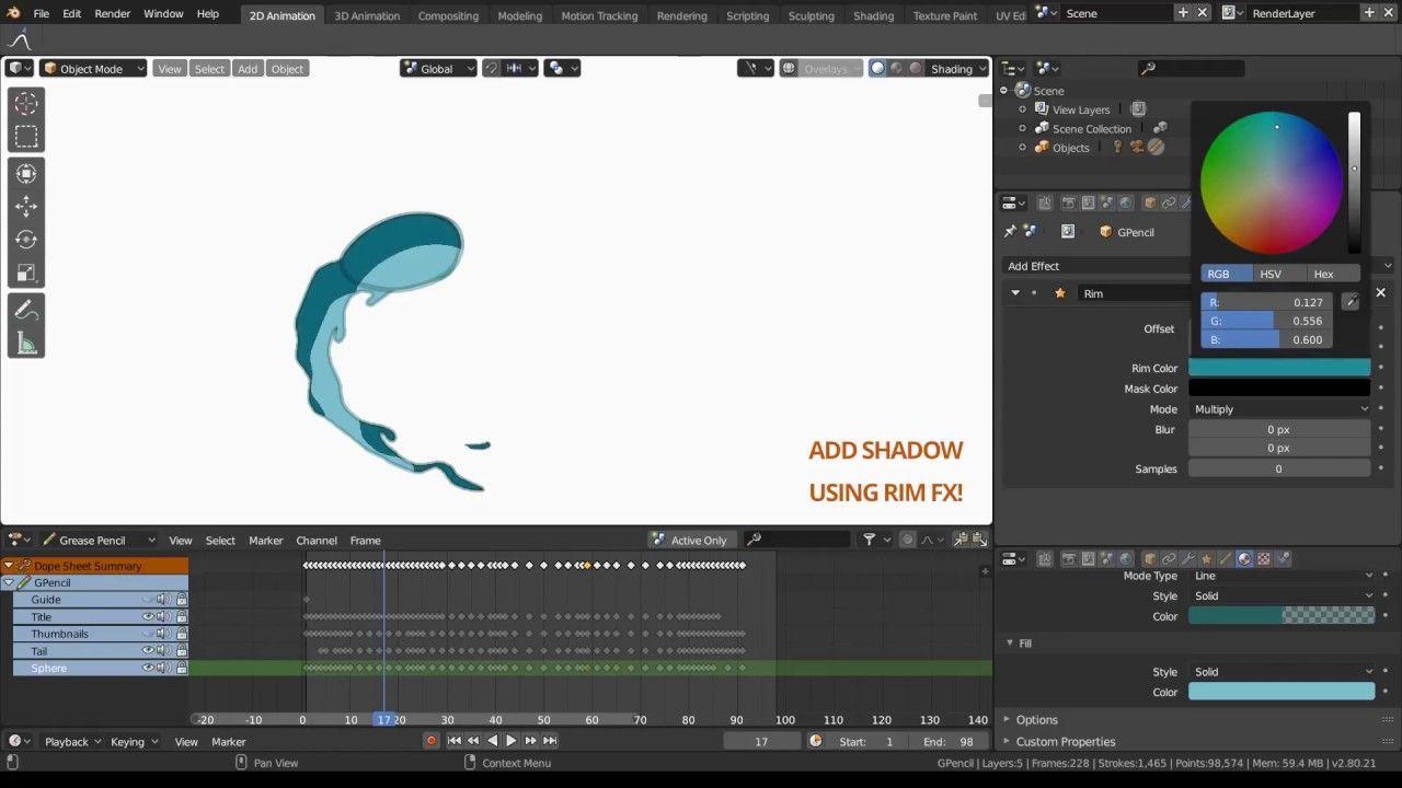 Blender 2 8 (EEVEE) - Grease Pencil(GP) Animation Test (TimeLapse