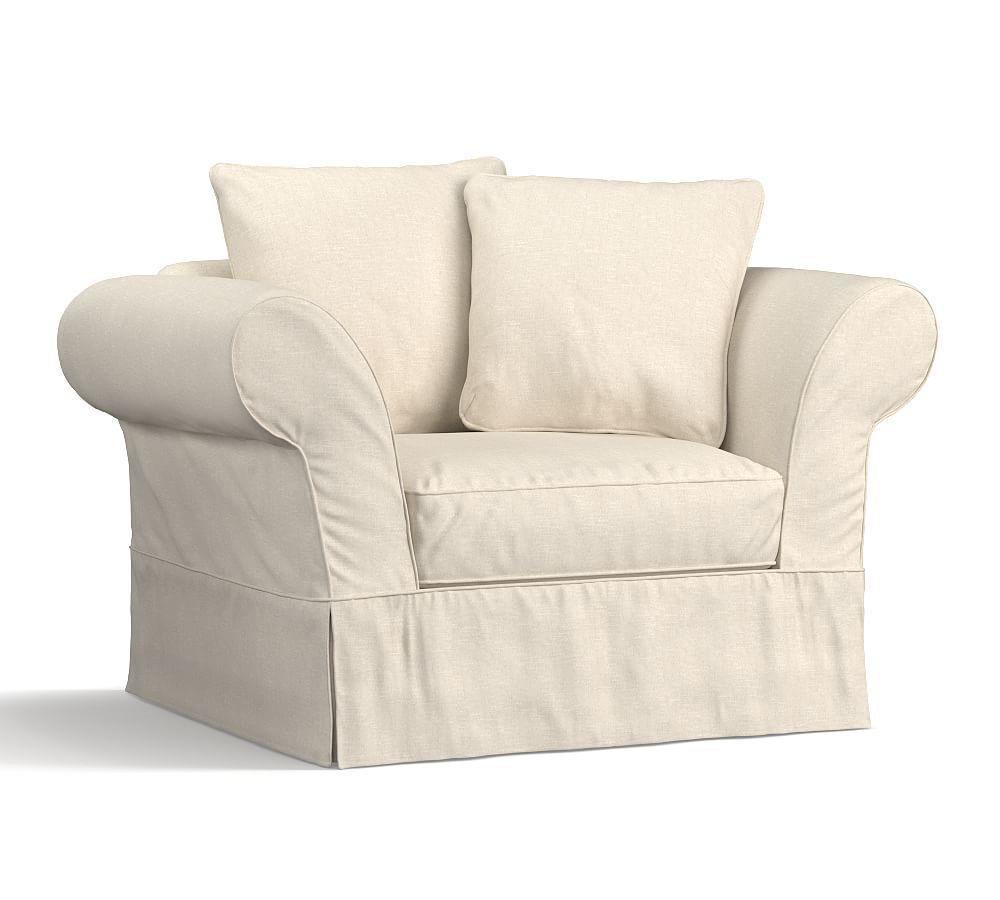 charleston slipcovered roll arm armchair and a half slipcovered rh pinterest com